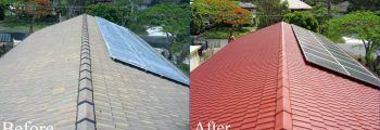 roof leak repair before and after